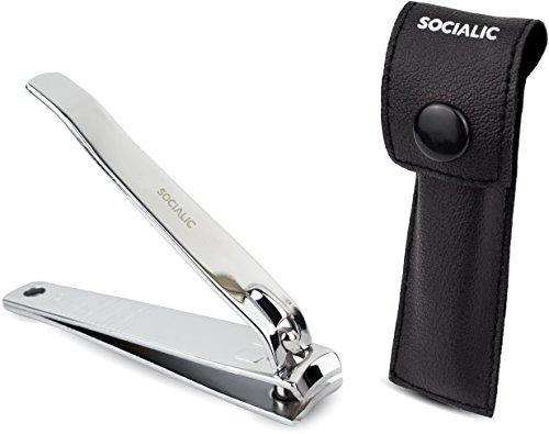 Socialic Premium Nagelknipser - Extra scharfer Nagelzwicker inkl. Etui und Feile - scharfer und glatter Schnitt - Maniküre und Pediküre für Damen und Herren