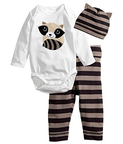 Babyicon 3PCS Baby Spielanzug + Hut + Hose Baumwolllange Hülsen Overall Bodysuit (95cm: (12-18 Months), Waschbär Bär)