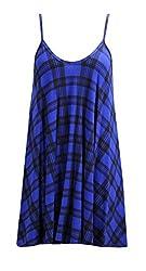 RD Fashion® WOMENS LADIES SLEEVELESS STRAP PLAID CAMI CAMISOLE SWING VEST TOP PLUS SIZE DRESS 08-26