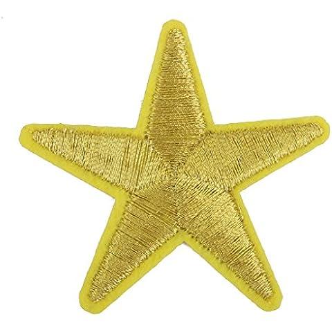 Parche Apliques Tela Bordada Forma Estrella Amarilla para Costura Ropa