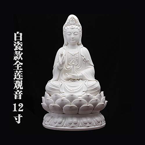 Buddha Statue Für Glück, Reichtum Und Glück, Handgemachte Chinesische Porzellan Sitzen Auf Lotus Guanyin Figurine Für Zen Meditation, Big White Kwan Yin Für Auto Home Schreibtisch Einrichtung, 1