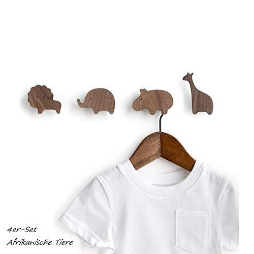 PLT Wandhaken für Kinder aus Holz, Tiere, Kinder, Kinderzimmer, Löwe, Elefant, Nilpferd und Giraffe, Deko, Kleiderhaken, Gardeobe, Garderobenhaken, Scandi-Style, Geschenkidee