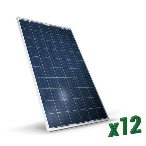 Set di 12 Pannelli Solari Fotovoltaici 280W Totale 3360W Policristallino adatto per Impianti su Casa Baita Camper Caravan