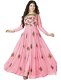 Lovender Fashion Women's Georgette Embroidered With Stone Work Semi-Stitched Salwar Suit Dress Material (Pink-Colour)