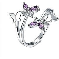 Yeahjoy da donna, taglia regolabile Volly aperto anelli a forma di farfalla viola cristalli austriaci anelli