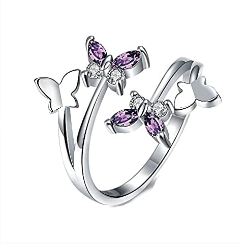 YEAHJOY Women's Adjustable Size Volly Open Rings Butterfly Shape Purple Austrian Crystals Rings (Platinum Plated) - Diamond Ring: Platinum Diamond Band