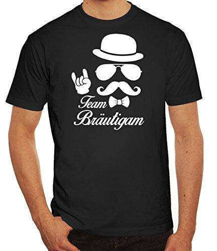 Team Papa T-shirt (Junggesellenabschied JGA Herren Männer T-Shirt Rundhals Sunglasses Team Bräutigam Kombi, Größe: L,Schwarz)