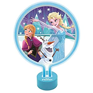 Lexibook Disney Lámpara de Neón, luz Nocturna para Las niñas admiradoras de Frozen, azul-LTP100FZ, Color