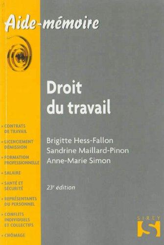 Droit du travail 2013 - 23e d.: Aide-mmoire Sirey