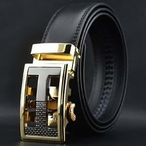 Casual Character Shape Buckle Black Color Waist Belt For Men - BLACK