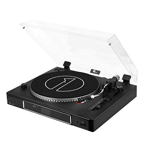 1byone 3-Gang Halbautomatischer Plattenspieler mit Stroboskopbeleuchtung verstellbarem Gegengewicht USB Vinyl-to-MP3-Aufnahme