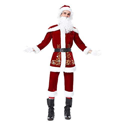 HEVÜY Herren Damen Kostüm Weihnachtsmann Partei Cosplay Outfits anzüge Santa Claus Nikolauskostüm Hut + Schal + Hose + Oberteil + Gürtel + Handschuhe + Bartperücke + Überschuh (Boot Überschuhe Kostüm)