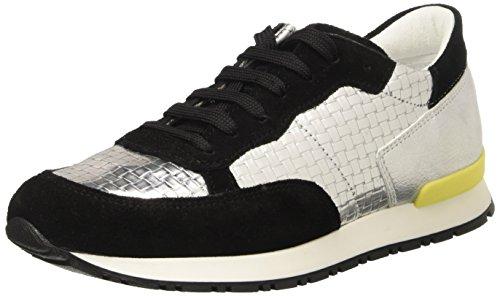 Pollini Damen 7049 Sneaker Multicolore (nero Mucca Pelle Scamosciata-argento Tessuto Lamé Argento Lamé Bottalato Pu)