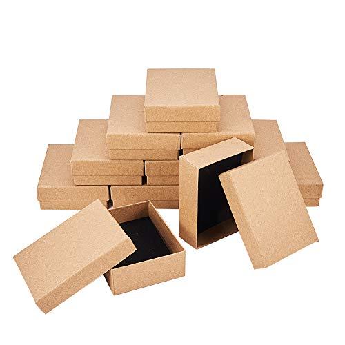 nbeads 12Karton Schmuck Set Box, für Ring, Halskette, Rechteck, 9x 7x 3cm hautfarben
