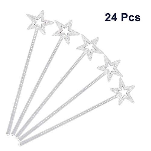 STOBOK Silberner Stern-Zauberstab - 24 Stück mit Strasssteinen, Magic Fairy Wand Kuchen Cupcake Toppers für Mädchen verkleiden Sich, Party Favors Dekoration (Kostüm Cupcake Prinzessin)