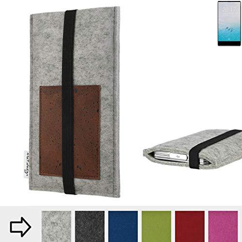 flat.design für Ulefone F1 Handyhülle Case Sintra mit Kartenfach (Braun) und Gummiband-Verschluss (schwarz) - maßgefertigte Smartphone Tasche Schutz Hülle aus 100% Wollfilz (hellgrau) für Ulefone F1
