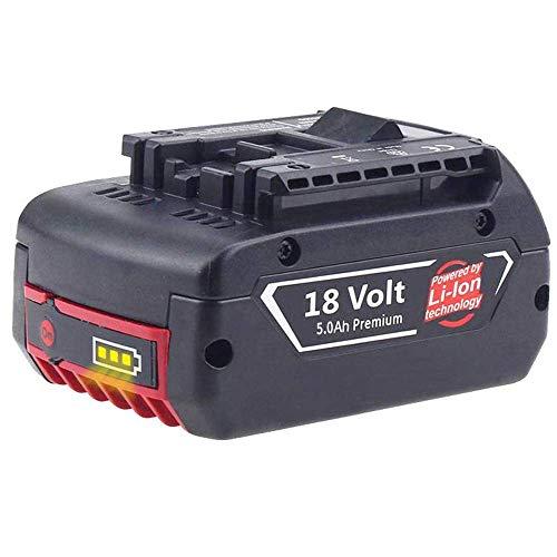 Powayup 18V 5.0Ah Batterie Sostituzione per Bosch GBA BAT609 BAT610G BAT618 BAT618G BAT619 BAT620 Utensile elettrico per trapano a batteria Capacità estesa con indicatore LED