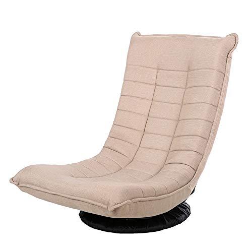 Axdwfd Liegestuhl Lounge Chair, Einzelner Stuhl Moon Chair Rotierende Lazy Couch Tatami Sofa Klappstuhl Mittagspause Chair Sun Stuhl Rückenlehne 57 * 50 * 84cm (Farbe : Beige)