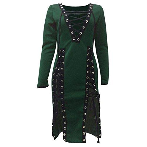 Rcool Womens Long Sleeve Kleid Bandage aushöhlen Club unregelmäßige Kleid (XL, (Angel Kostüme Womens Dark)
