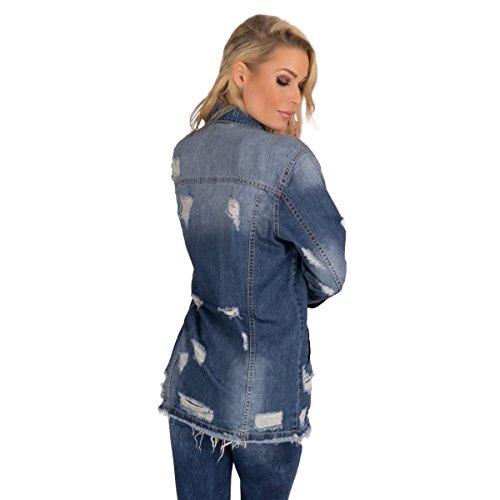 11295 Fashion4Young Damen Jeansjacke lange Damenjacke leichter Jeans-Parka Stickerei BOHOstyle Blau
