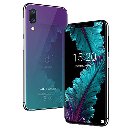 Flaggschiff UMIDIGI One, Android 8.1 Smartphone ohne Vertrag 4G 4GB + 32GB(256GB erweiterbar) Dual SIM Handy 5.9 Zoll 19:9 Notch-Display, Triple Kameras(16MP+12MP+5MP), Quick Charge - Twilight