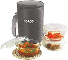 Borosil Glass Lunch Box Set with Bag, 400ml, 3-Pieces, Grey