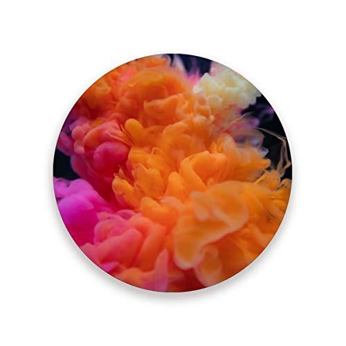 Runde Untersetzer Coffee Watercolor Burst Decoration Rutschfeste Antifouling-Tischmatte Hitzebeständiges 4er-Set