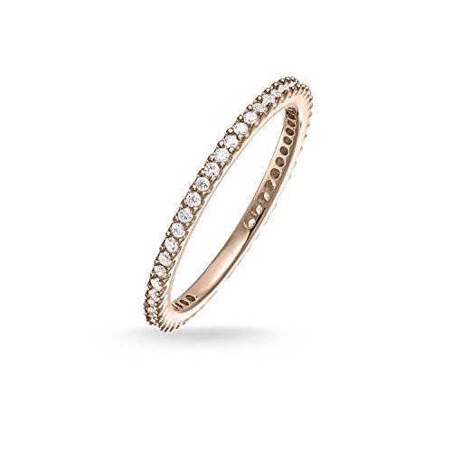 THOMAS SABO Damen Eternityring Pavé Ring 925er Sterlingsilber; 750er Roségold Vergoldung TR1980-416-14