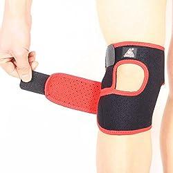 Dehang - Rodillera Ajustable Respirable Soporte Protector Protección para rodillas Tenis Fútbol Baloncesto Fitness Musculación Gimnasio - Negro