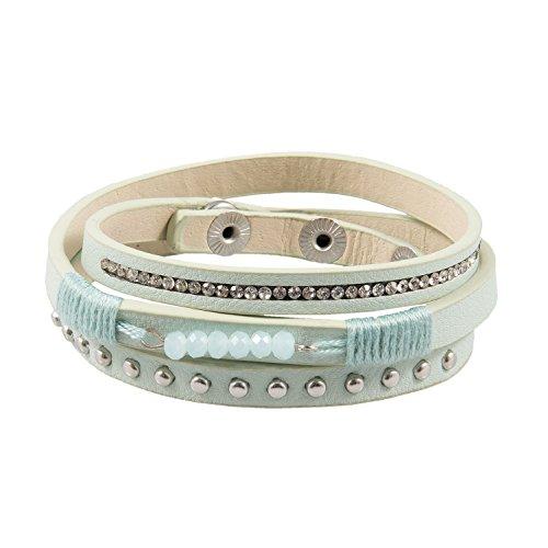 J.L.Z. Boho - Armband mit Perlen, Strass und Nieten, Modell Balance, Grün Farbtöne, Schmucksteine, toller Armschmuck für Frauen, Mädchen, incl. Schmuckbeutel (Strass-perlen-armband-uhren)