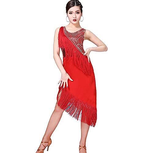SUPRIEE Lateinisches Kostüm, Frauen Latin Dance Dress Sleeveless Asymmetrische Pailletten Fransen Quasten Rumba Samba Tango Ballsaal Dancewear Leistungswettbewerb Tanz Kostüm, für Frauen Damen
