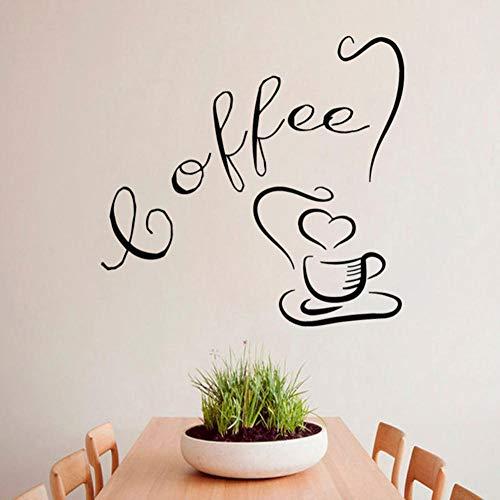 Dwqlx Wandaufkleber Kaffeetasse Mit Liebe Tee Zeit Getränke Küche Cafe Interior Design Home Art Vinyl Aufkleber Aufkleber Kinderzimmer Dekor 44 * 44