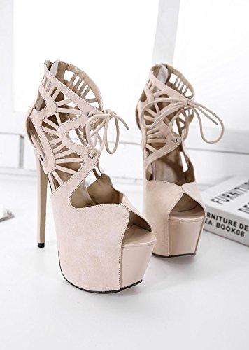 LvYuan-mxx Chaussures femmes talons hauts / printemps été / imperméable plate-forme sangles croisées bouche de poissons / bottes cool / Bureau et carrière Banquet robe / talon aiguille / sandales APRICOT-36