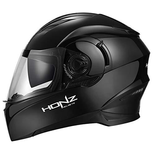 Casco integrale moto scooter casco modulare per moto casco del motociclo casco auto sportivo anti-riflesso moda cool motorino touring del casco per harley con integrale doppia visiera,brightblack-xxl
