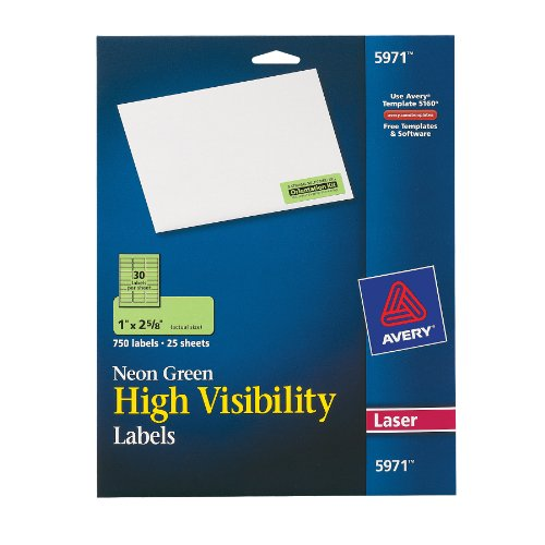 High-Visibility Laser Labels, 1 x 2-5/8, Neon Green, 750/Pack - Neon Laser Etichette