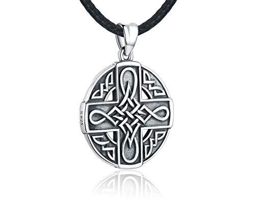 Odinstone 925 Sterling Silber Halskette für Frauen - Keltischem Knoten Kreuzanhänger mit Lederseil- Keltisches Amulett- Geheimnisvolle Kraft