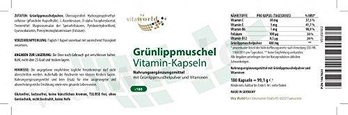 Vita World Gruenlippmuschel 400mg + Vitamine 180 Kapseln Apotheker-Herstellung Grünlippmuschel Grünlipp Made in Germany