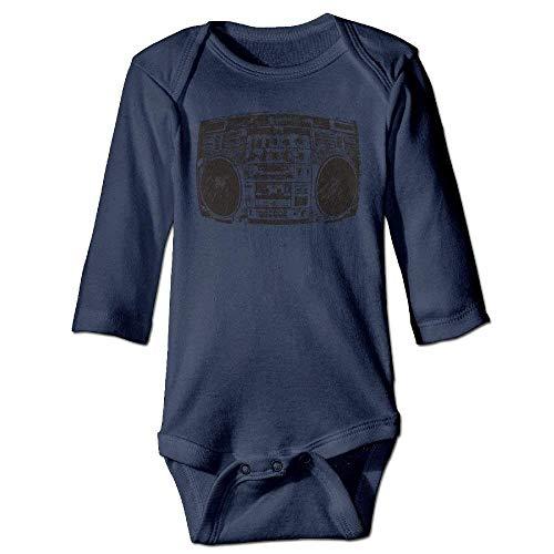 WYICPLO Unisex Infant Bodysuits Boombox Graffiti Girls Babysuit Long Sleeve Jumpsuit Sunsuit Outfit Navy