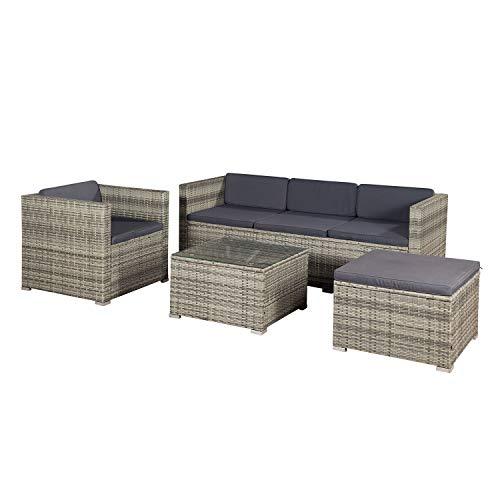 ArtLife Polyrattan Lounge Punta Cana L grau-meliert mit Bezügen in Dunkelgrau |Sitzgruppe mit Tisch für 4-5 Personen | Gartenmöbel - Set