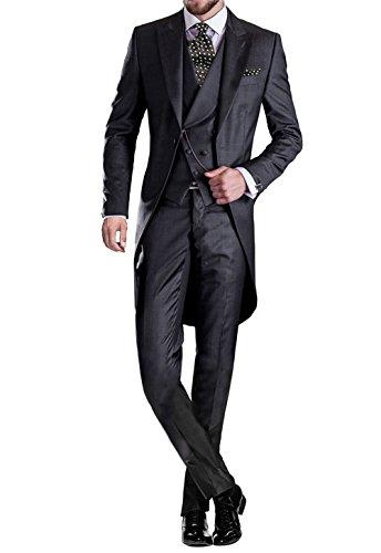 GEORGE BRIDE Herren Anzug 5-Teilig Anzug Sakko,Weste,Anzug Hose,Krawatte,Tasche Platz 005,Schwarz,XXXXXL