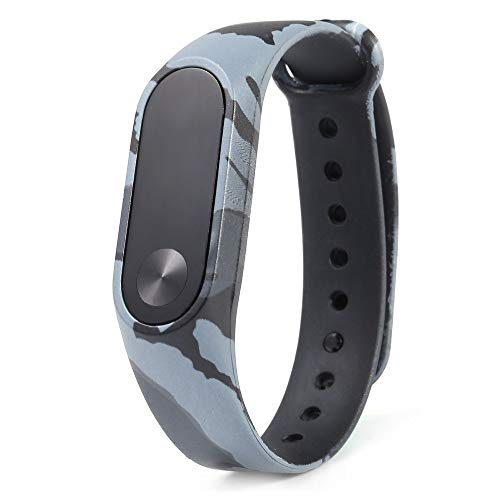 MStick Ollivan Silicon Colorful Camouflage Alternative Rubber Waterproof Replacement Wristband Strap for Xiaomi Mi Band 2, Grey Camouflage