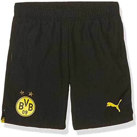 Puma BVB Niños Pantalones Cortos with 2Side Pockets/Zip/Inner Slip, otoño/invierno, infantil, color negro/amarillo, tamaño 8 años (128 cm)