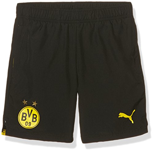 PUMA Kinder Hose BVB Woven Shorts with 2 side pockets/zip/Innerslip, black-cyber yellow, 152, 749868 02 (Hose Zip-pocket)