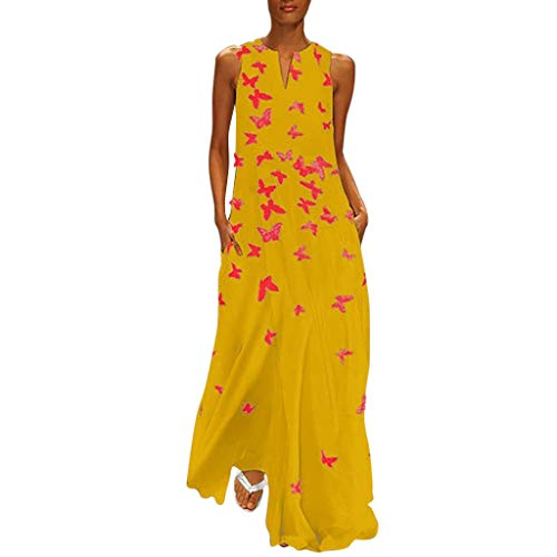 Fenverk Damen Lange Kleider Sommerkleid Leinenkleid Mode Tops Vintage Print Stickerei Oansatz Plus Größe Taschen Maxi Dress Einfarbig Bluse (C Gelb,L)