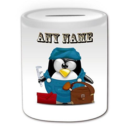 Personalisiertes Geschenk–Klempner Spardose (Design Pinguin in Kostüm Thema, weiß)–alle Nachricht/Name auf Ihre einzigartige–Darüber Ablauf Heizung ()