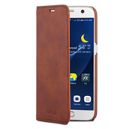"CASEZA Samsung Galaxy S7 Kunstleder Flip Case ""Oslo"" Braun - Ultra schlanke PU Lederhülle Ledertasche Leder Hülle für das Original Samsung Galaxy S7 - Edles Cover mit Magnetverschluss"