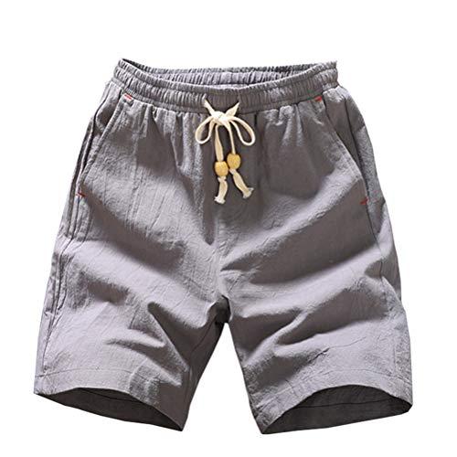 Herren Shorts Lose Beiläufige Shorts Kordelzug Taille Antibakterielle Haut Weiche und Bequeme begleitende Taschendekoration -