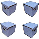 VelVeeta Foldable Purple Set Of 4 Laundry Cloth Basket Bin Organizer Container For Kids Baby Toys Box Clothes Storage Kitchen Bedroom Bathroom With One Handle - 1pc