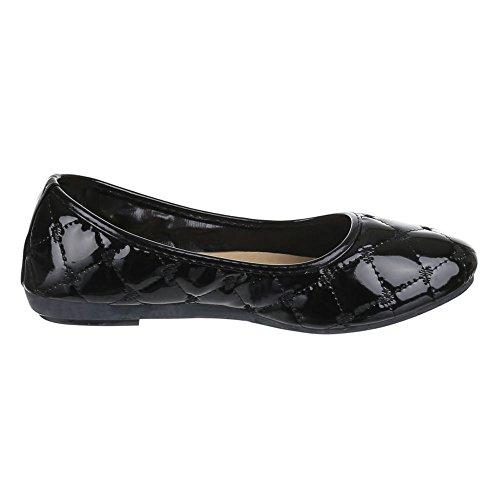Damen Schuhe, H-89, BALLERINAS NAHT DECKO PUMPS Schwarz
