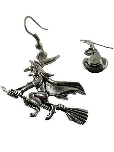 Ohrringe Ohrhänger Edelstal Hänger Hexe mit Hut Walpurgis Halloween 6514
